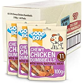 Chewy Chicken Dog Treats – Good Boy Chewy Chicken Dumbells – Pack of 8-100ge – Made with 100% Natural Chicken Breast Meat – Low Fat