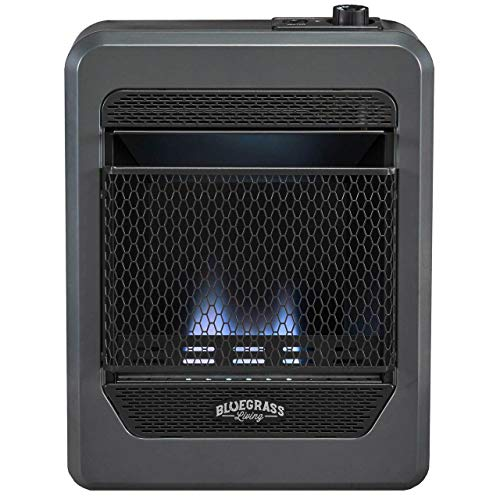 Bluegrass Living B10TPB-B Vent Free Blue Flame Gas Space Heater with Base Feet-10,000, T-Stat Control, 10000 BTU, Black heaters Propane Space