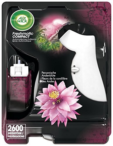 Air Wick Freshmatic Compact – Starter-Set mit Gerät und 3 Duftsprays – inkl. 3 Batterien – Duft: Peruanische Andenblüte – 3 x 24 ml Duftspray + Gerät in weiß