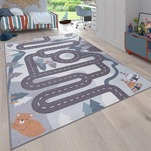 Alfombra Infantil Juego para Dormitorio Niños Motivo Calles con Animales Crema, tamaño:80x150 cm