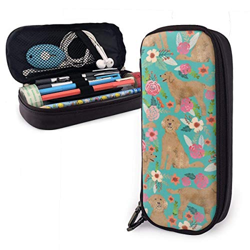 Estuche impermeable de piel, diseño de puntos, color lila, con cierre de cremallera, color Golden Doodle Floral Dog talla única