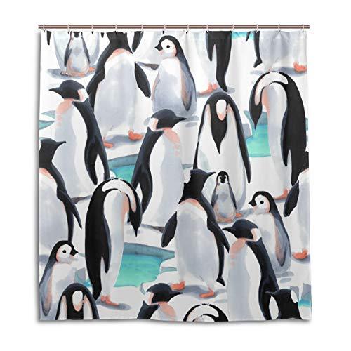 BIGJOKE Duschvorhang, Winter-Muster, Pinguin, schimmelresistent, wasserdicht, Polyester, 12 Haken, 167,6 x 182,9 cm, Heimdekoration