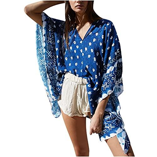 AMhomely Tops de verano para mujer, con estampado de chifón, para playa, kimono, blusa holgada, talla grande, elegante, talla grande
