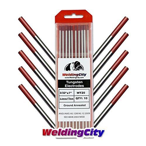 WeldingCity 10-pk Premium TIG Welding Tungsten Electrode Rod 2.0% Thoriated (Red, EWTh20) 3/32