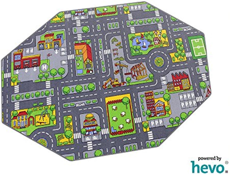 Stadt Mix HEVO Strassen Spielteppich  Kinderteppich 200 cm Achteck