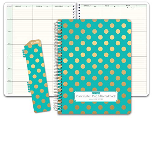 "HARDCOVER Combination Plan and Record Book: One efficient 8-1/2"" x 11"" Book for Lesson Plans and Grades Combines W101 and R1010 (PR7-10) (+) Bonus Clip-in Bookmark (Gold Dots Turquoise)"