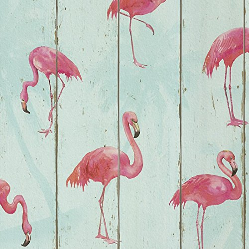 Pink Flamingo on Teal Wood Panel Wallpaper