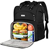Lunch Backpack for women, Insulated Cooler Backpack Lunch Box with USB charge Port RFID Anti Theft Leak-proof Waterproof Lunch Bag for School Business Travel Trip Beach Picnic Fits 15.6 Inch Laptop