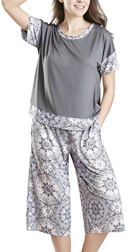 Plus Size Ladies Pajamas Sets Short Sleeve Sleepwear Ink+Ivy Capri Pajamas for Women