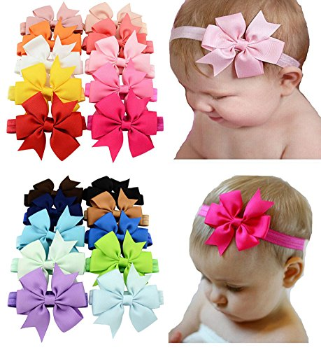 """Baby Headbands Turban Knotted, Girl's Hairbands for Newborn, Toddler and Children's (20 Color Bow 3"""")"""