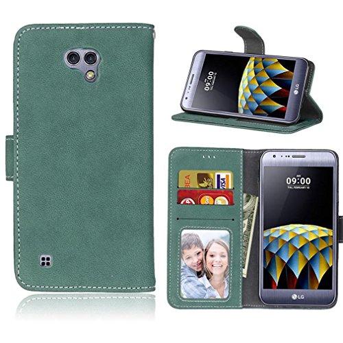 LMAZWUFULM Hülle für LG X Cam / K580 5,2 Zoll PU Leder Magnet Brieftasche Lederhülle Retro Gefrostet Design Stent-Funktion Ledertasche Flip Cover Grün