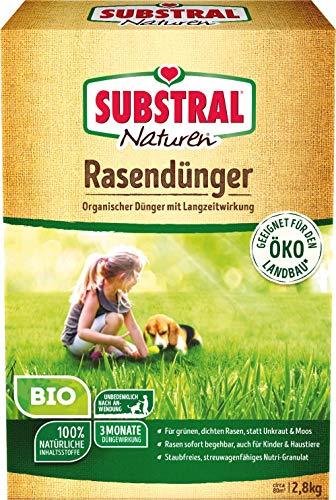 Substral Naturen Bio Rasendünger - Organischer Volldünger mit natürlicher Langzeitwirkung für Sport,- Spiel - und Zierrasen - 2,8 kg für 80 m²