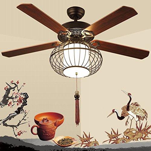 YLXB Fan Lights woonkamer eetkamer slaapkamer plafondventilator lichten hout Foliage Birdcage LED afstandsbediening stille ventilator kroonluchter, B, 42 cm