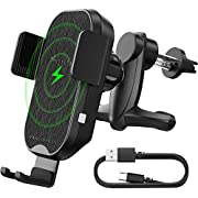 Squish Wireless Car Charger Air Vent, 10W 7.5W Qi Fast Charging Phone Mount Auto Clamping Car Phone Holder, Compatible with iPhone Xs Max/XS/XR/X/8Plus/8 Samsung Galaxy S10/S9/S8/S8+ Samsung Note9 8 7