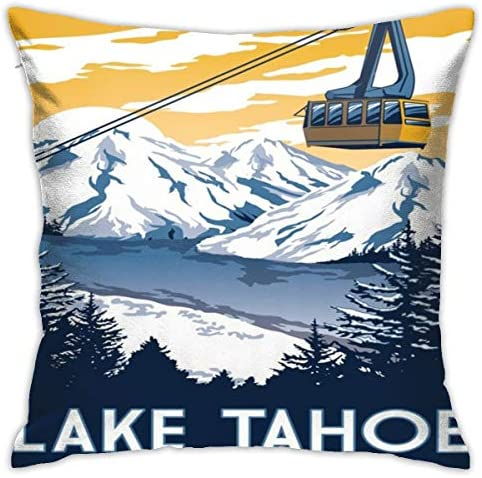 Lake Tahoe California Vintage Travel Poster Crazy Throw Pillow Cover Novelty Creative Cushion product image