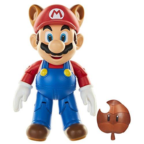 World of Nintendo Super Mario Figur Raccoon Mario mit Super Leaf - Spiel und Sammelfigur beweglich ca 11 cm