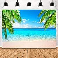 lovedomi 9x6ft 夏の海辺の青い空と白い雲熱帯のビーチヤシの葉写真背景写真スタジオブース家族休暇誕生日パーティー写真スタジオ小道具ビニール素材