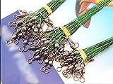 FICI Línea de Pesca 72pcs 15/23 / 30cm Línea de Pesca Líder de Alambre de Acero con Ruedas giratorias Duo-Lock Snap Anti-Cebo Alambre de Pesca de...