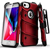 ZIZO Bolt Series iPhone 8 Case Military Grade Drop Tested with Tempered Glass Screen Protector, Holster iPhone 7 case RED Black