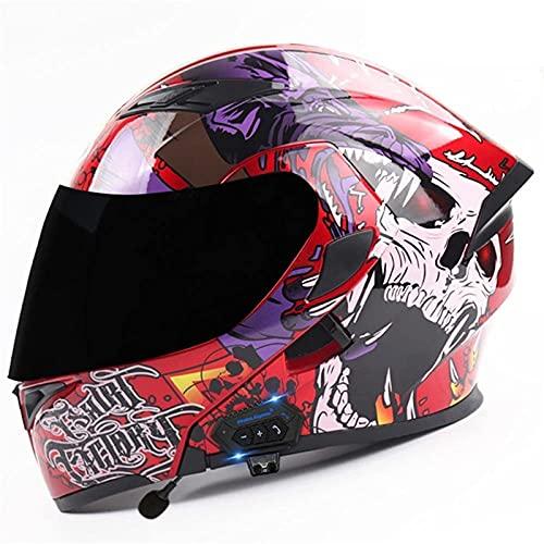 Casco de Moto Bluetooth Integrado Flip Up Casco Moto Integral Modular Casco Certificación ECE con Doble Visera Casco Motocross para Hombre Y Mujer Adulto Motocicleta Casco Scooter
