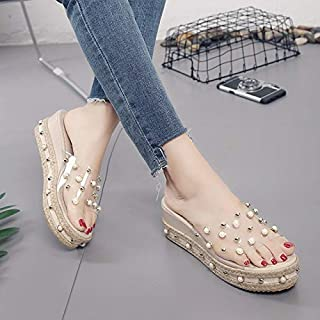 Pearl Sandals Summer Candy Ladies Platform Beach Slippers Flat Slip On Dress Wedding Female Slides Plus Size tyu7 elegant summer slippers (Color : Apricot, Shoe Size : 7)