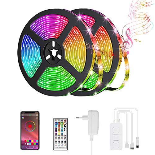 LED Strip, Led Streifen 10M Led Lichterkette Bluetooth Led Band RGB mit Farbwechselnde Bandbeleuchtung mit Fernbedienung für Wohnzimmer, Küche, Schlafzimmer, Decke, Schrank, Vitrine und mehr
