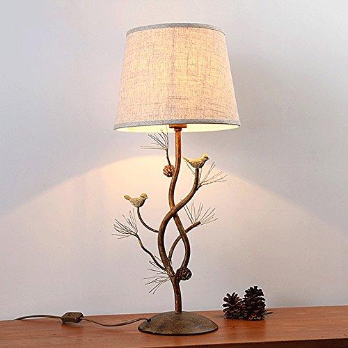 MILUCE Nordisches Retro amerikanisches Dorf-kreatives Schlafzimmer-Nachttischlampen-dekorative Stab-Tabellen-Lampen-Eisen-Scheren Vögel