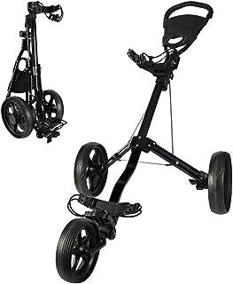 KXDLR Golf Cart, 3 Wheel Golf Trolley Swivel Quick Folding Golf Pull Push Cart, Golf Cart with Multi-Function Panel