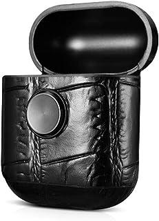 iCarer Fidget Spinner Airpods Leather Vintage Case Black Crocodile Pattern