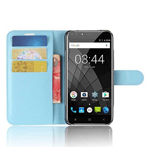 Tasche für Oukitel U22 Hülle, Ycloud PU Kunstleder Ledertasche Flip Cover Wallet Case Handyhülle mit Stand Function Credit Card Slots Bookstyle Purse Design blau