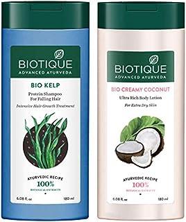 Biotique Bio Kelp Protein Shampoo for Falling Hair Intensive Hair Regrowth Treatment, 180ml And Biotique Bio Creamy Coconu...