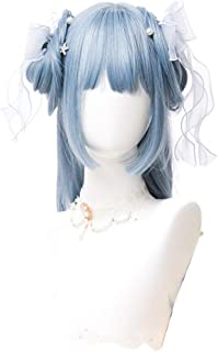 Long Blue Lolita Wigs Light Blue Straight Cosplay Wigs Women Hair Wig with Bangs Heat Resistant Hair YUXUJSA