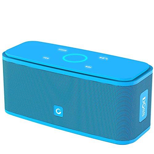 DOSS SoundBox Bluetooth Lautsprecher Kabellose Portabler 12W Touch Lautsprecher mit 12-Stunden Spielzeit & Dual-Treiber Wireless Speakers mit TF Karte, Mikrofon und Reinem Bass【Blau】