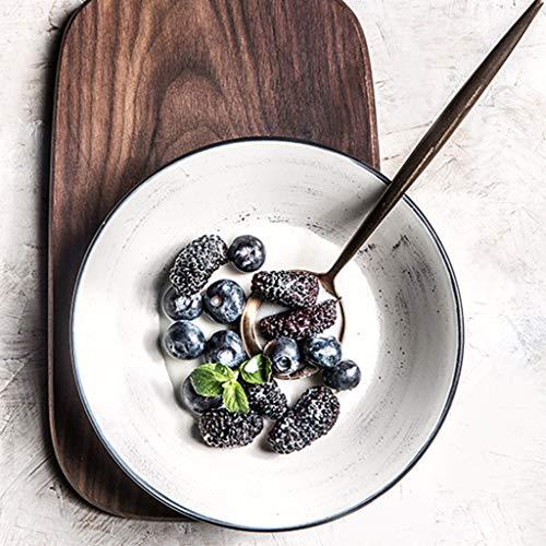 XIUXIU Ménage européen simple plat plat plat de fruits de couleur solide plat en céramique peint à la main en céramique plaque de steak (Color : Blanc)