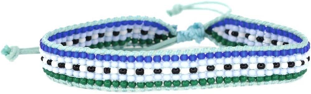 Light Blue Striped Woven Bracelet