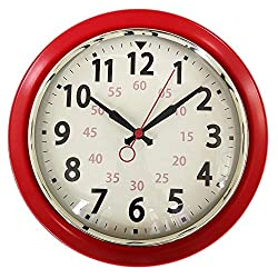 Wall Clock Countryside Style Metal Retro Vintage Wall Clock Silent Non Ticking Easy to Read for Living Room Kitchen Bedroom Office 10 Inch Red