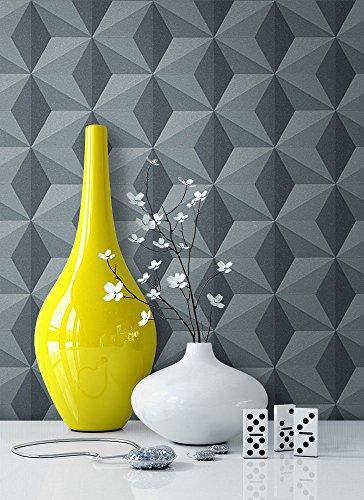 Tapete Vlies Grau Blau Grafik Optik | schöne, edle Tapete im modernen Design | für Wohnzimmer, Schlafzimmer oder Küche inklusive Newroom Tapezier Profibroschüre mit Tipps für perfekte Wände