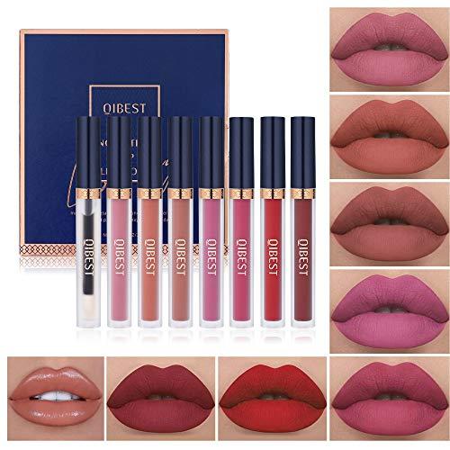7Pcs Matte Liquid Lipstick + 1Pcs Lip Plumper Makeup Set Kit, Long Lasting Waterproof Velvet Lip Gloss Set, Pigmented Halloween Lip Makeup Gift Sets for Girls and Women
