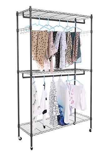 Plohee Heavy Duty Garment Rack with Wheels,Rolling Clothing Rack Large Wardrobe Closet Storage with...