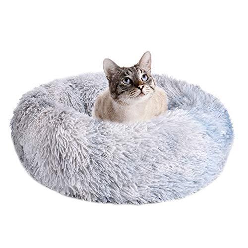 Wuudi Cama para perro, cama para gatos, cama para perro, cama para mascotas, nido de mascotas, cama de felpa extraíble, suave y redonda, para perros y gatos, técnica de teñido anudado, color gris