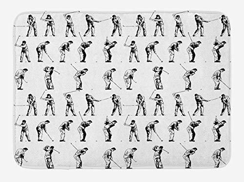 Alfombra de baño de Golf Columpio de Golf Que se Muestra en 14 etapas Deportes Hobby temático Boceto Art Storyboard Felpa Alfombra de decoración de baño 50x80cm