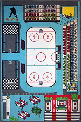 TAPITOM Kinderteppich Eishockey Eisbahn Spielteppich 130 x 200 cm