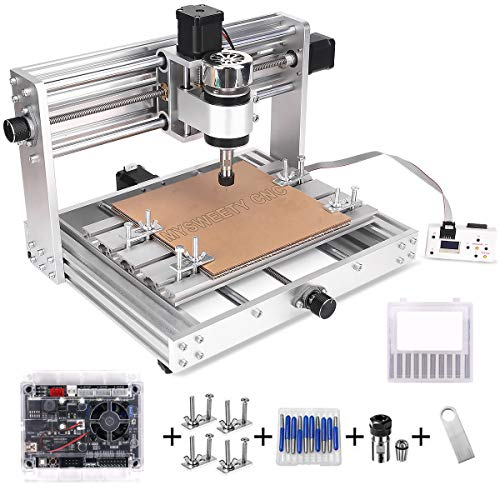 MYSWEETY CNC 3018Pro MAX Engraver with 200W Spindle, GRBL control DIY CNC machine, 3 Axis Pcb Milling Machine, Wood Router Engraver with Offline Controller, with ER11 and 5mm Extension Rod