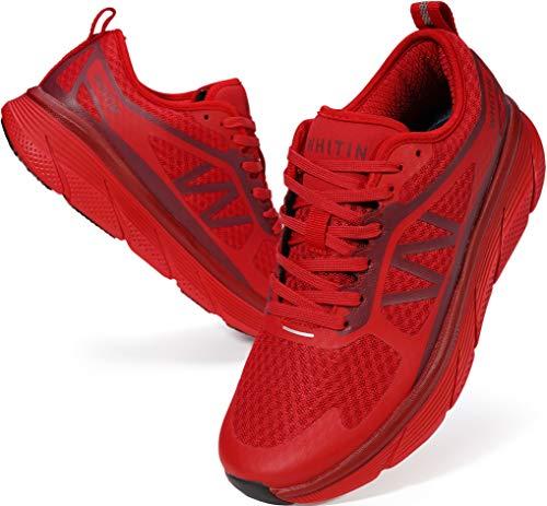 WHITIN Laufschuhe Herren Sportschuhe Straßenlaufschuhe Sneaker Joggingschuhe Turnschuhe Walkingschuhe Fitness Schuhe Gym Mesh Freizeit Bequem Sport Shoes Dämpfung Rot 42 EU
