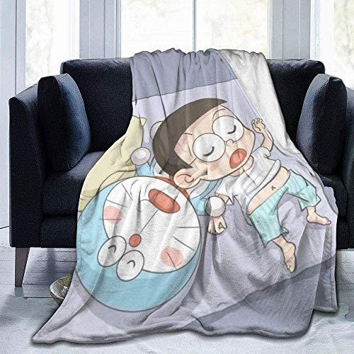 HYKCSS Doraemon Nobita Manta De Dibujos Animados De Doraemon Cat Cute Franela Coral Fleece Manta Suave Y Cómoda Niños Adultos Habitación con Aire Acondicionado Sofá Camping Viajes Four Seasons