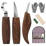 DIAOPROTECT Holz Schnitzwerkzeug,6-in-1 Walnuss Schnitzmesser Beinhaltet Schnitzhakenmesser,Schnitzmesser,Spanschnitzmesser,Schnittfeste Handschuhe,Schnitzmesserschärfer für Löffelschalenbecher Kuksa