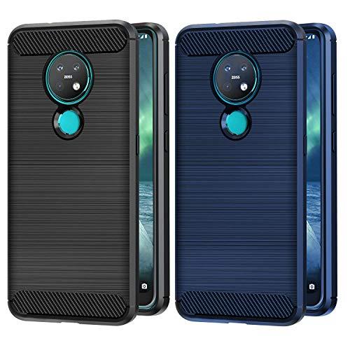 VGUARD 2 Stücke Hülle für Nokia 6.2 / Nokia 7.2, Carbon Faser Hülle Tasche Schutzhülle mit Stoßdämpfung Soft Flex TPU Silikon Handyhülle für Nokia 6.2 / Nokia 7.2 - (Schwarz+Blau)