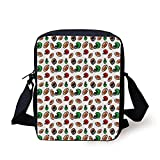 Ytavv American Football,Cartoon Style Rugby Helmet and Balls American Culture Game Touchdown Decorative,Multicolor Print Kids Crossbody Messenger Bag Purse