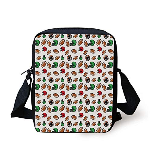 American Football,Cartoon Style Rugby Helmet and Balls American Culture Game Touchdown Decorative,Multicolor Print Kids Crossbody Messenger Bag Purse