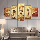 BHJIO Impresiones sobre Lienzo 5 Cuadros En Lienzo Modernos Dormitorios Murales Pared Lona XXL Grande Hogar Cuadros Decora Salón Piezas Antiguo Egipto